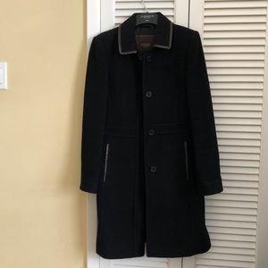 Coach wool mohair leather trim coat